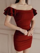 Korean Knitting Bodycon Red Dress