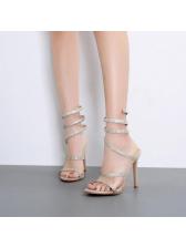Stylish Faux Diamond Thin Heel Strappy Tan Sandals