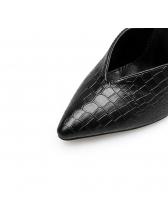 Crocodile Printed Pointed Black Heel Mules Slippers