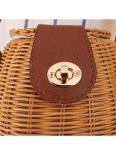 Japanese Style Fish Basket Solid Straw Bucket Bag