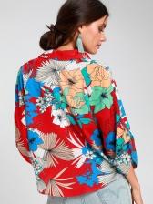 Plunging V Neck Flower Loose Long Sleeve Blouse