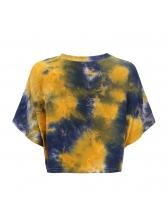 Euro Tie-Dyed Crop Yellow T-Shirt