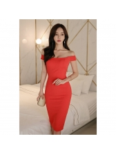 Boat Neck Red Sleeveless Cocktail Dress