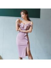 Sexy V Neck Slit Ruffle Dress