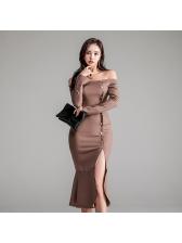 Off Shoulder Slit Fitted Fishtail Dresses