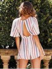 Striped V Neck Tie-Wrap Ruffled Short Dress