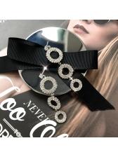 Chic Round Rhinestone Ladies Earrings