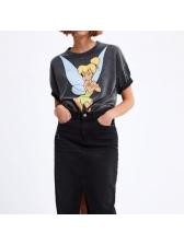 Cartoon Printed Short-Sleeved T-Shirt For Women