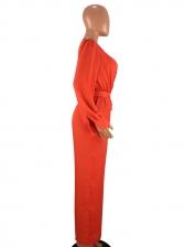 Deep V Neck Tie-Wrap Solid Jumpsuit For Women