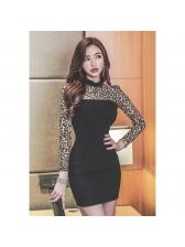 Leopard Patchwork Bodycon Empire Waist Dress