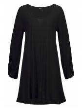 Casual U Neck Cold Shoulder Solid Shirt Dresses