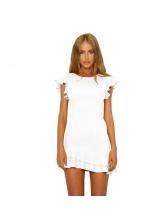 Fashion Ruffle Sleeves Ruffle Hem Solid Short Dresses