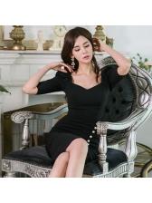 Square Neck Slit Black Bodycon Dress
