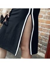 Casual Striped Slit Sides Short Sleeves Dresses