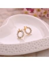 Round Rhinestone Crown Fashion Earrings