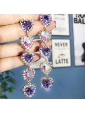 Chic Heart Studded Rhinestone Earrings