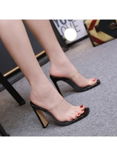 Simple Design PVC Thick Heel Lady Sippers
