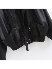 Spring Bat Sleeve Pu Black Jackets