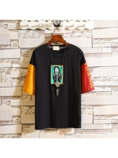 Fashion Number Letter Man Print Multicolored Tee Shirts
