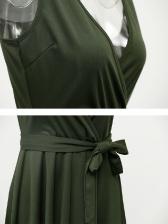 Sexy Low-cut Binding Bow Asymmetrical Dress