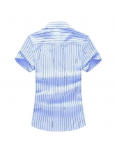 Mens Casual Striped Letter Print Button Up Shirts