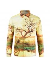 Mens Tree Print Button Up Long Sleeves Yellow Shirts