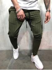 Striped Solid Drawstring Pencil Pants For Men