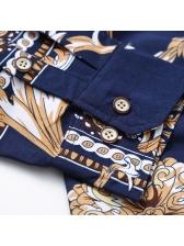 Vintage Turndown Neck Geometric Printing Mens Cozy Shirts