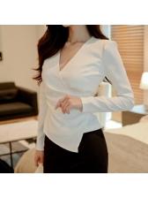 V Neck Irregular Long Sleeve Solid Blouse