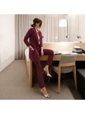 Fashion Two Button Lapel Solid Blazer Outfits