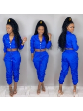 Casual Turndown Neck Solid 2 Piece Trouser Sets
