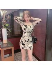 Printed Bodycon Long Sleeve Mini Dress