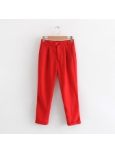 Chic Solid Ruched Pockets Women Long Pants