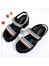 Spring Rainbow Color Black Platform Sandals