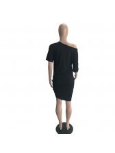 Crew Neck Letter Short Sleeve Dress