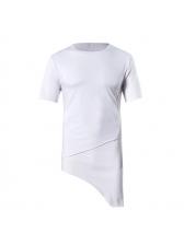 Fashion Asymmetrical Solid Short Sleeves Tee Shirts