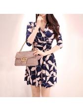 Korean Printed V Neck Fitted Dresses