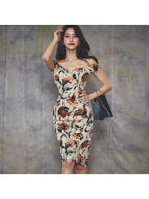Floral Bodycon Off The Shoulder Dress
