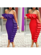 Multiple Layers Ruffled Solid Strapless Women Gown