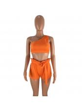 One Shoulder Crop Solid 2 Piece Shorts Set