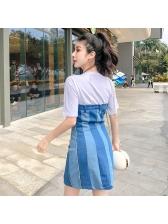 Color Block Strapless Denim Dress