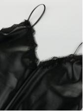 Sexy Lace Detail Black Pu Strap Short Dress