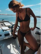 Sexy Tie-Wrap Round Patchwork Solid Bikinis