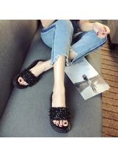 Chis Rivet Open Toe Slide Slippers For Women