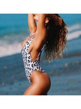 Deep V Neck Leopard Printed Backless Swimwear