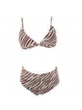Sexy Zebra-Stripe Printed High Waisted Bikinis