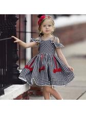 Plaid Binding Bow Ruffled Sleeve Pleated Girls Dress