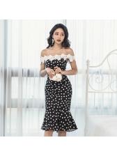 Dot Hook Flower Lace Off The Shoulder Dress