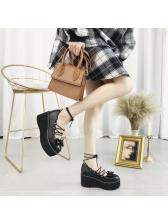Spring Lace Up Lolita Black Platform Shoes