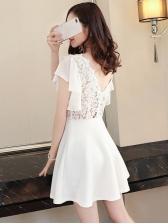 Lace Patchwork Backless Ruffles Short Dress